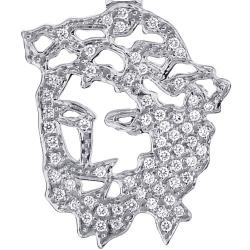14K White Gold 0.59 ct Diamond Jesus Christ Cut Out Pendant