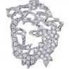 Mens Diamond Jesus Christ Head Cut Out Pendant 14K White Gold