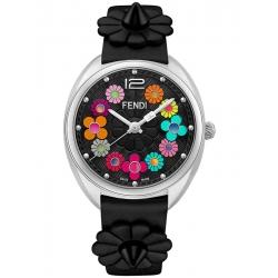 F234031011 Fendi Momento Flowerland Black Leather Womens Watch