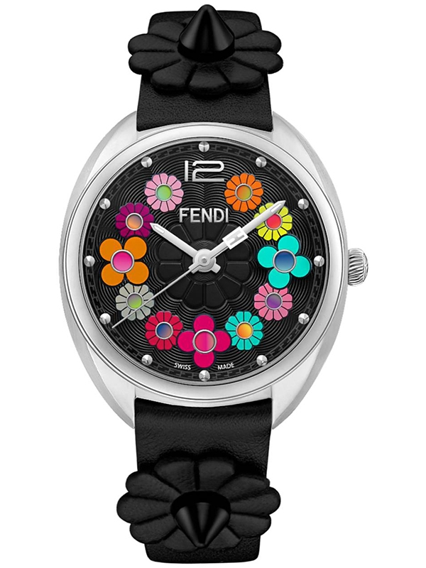 d0c2b451f574 F234031011 Fendi Momento Flowerland Black Leather Womens Watch
