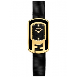 F341421000D1 Fendi Chameleon Black Mesh Strap Womens Watch 18mm