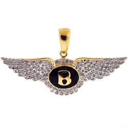 Mens Diamond Bentley Motors Logo Badge Pendant 10K Yellow Gold