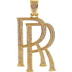 Mens 10K Yellow Gold 2.90 ct Diamond Rolls Royce Car Logo Pendant
