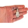 10K Yellow Gold Diamond Hamsa Hand Evil Eye Small Pendant