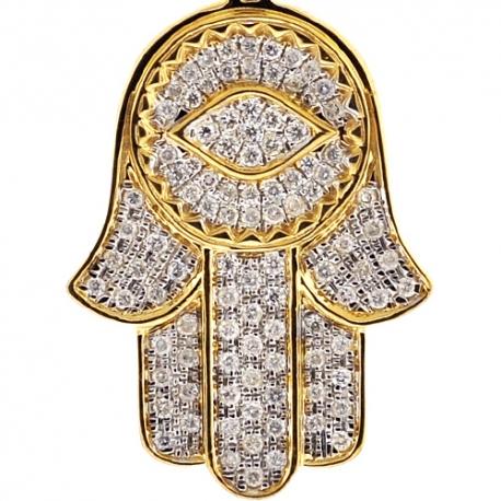 10K Yellow Gold Diamond Hamsa Hand Evil Eye Medium Pendant