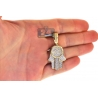 10K Yellow Gold Diamond Hamsa Hand Evil Eye Medium Pendant
