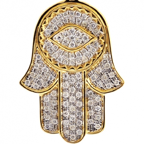 Mens 10K Yellow Gold Diamond Hamsa Hand Evil Eye Large Pendant