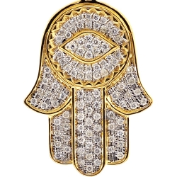 10K Yellow Gold Diamond Hamsa Hand Evil Eye Large Pendant