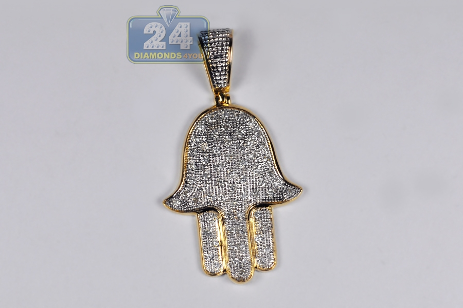 Mens diamond hamsa hand of god large pendant 10k yellow gold 10k yellow gold diamond hamsa hand of god large pendant mozeypictures Image collections