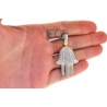 10K Yellow Gold Diamond Hamsa Hand of God Large Pendant