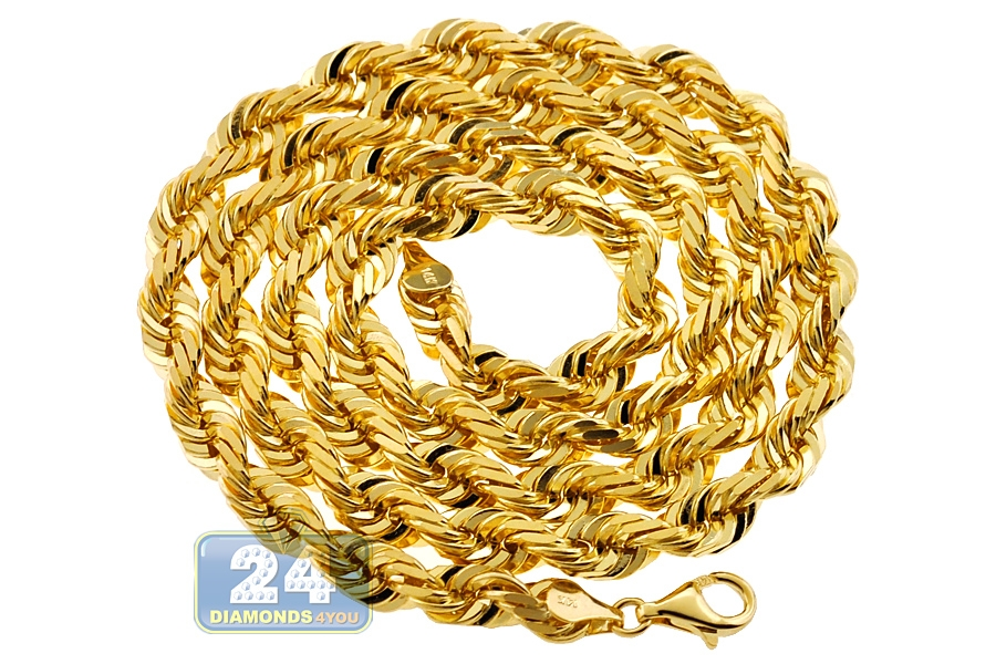 2d510ff2ca5d5 Italian 14K Yellow Gold Solid Rope Mens Chain 7 mm