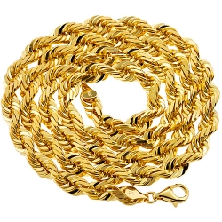 Italian 14K Yellow Gold Solid Rope Mens Chain 7 mm