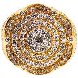 14K Yellow Gold 3.40 ct Diamond Crown Style Mens Ring