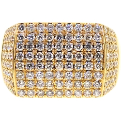 14K Yellow Gold 2.90 ct Diamond Rectangle Shape Mens Ring