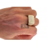 14K Yellow Gold 2.90 ct Diamond Rectangle Shape Mens Ring
