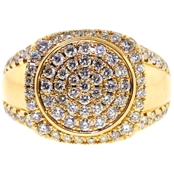 14K Yellow Gold 2.15 ct Diamond Round Ring for Men