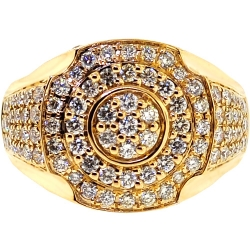 14K Yellow Gold 2.85 ct Diamond Signet Ring for Men