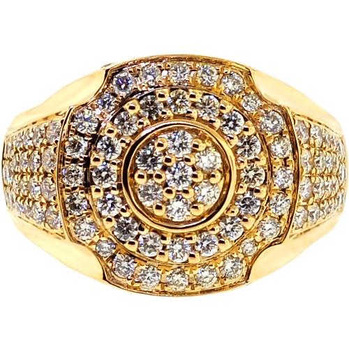 1cea33371f2f2 14K Yellow Gold 2.85 ct Diamond Signet Ring for Men