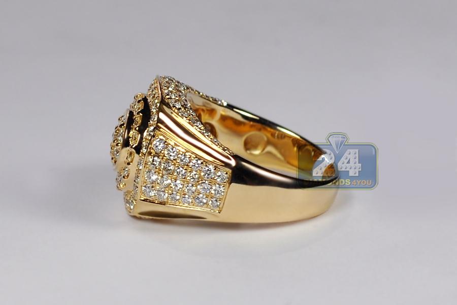 Mens Diamond Signet Ring Solid 14k Yellow Gold 2 85 Carats