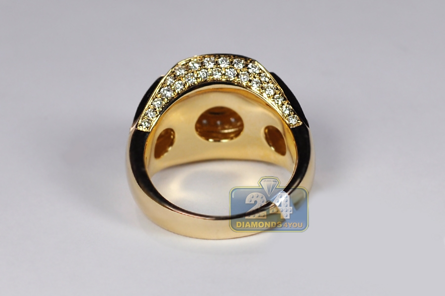 Mens Diamond Signet Ring Solid 14k Yellow Gold 2 85 Carats