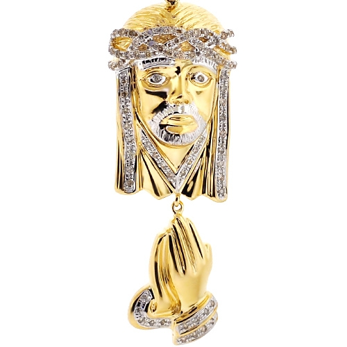 Mens diamond jesus christ praying hands pendant 10k yellow gold 10k yellow gold 040 ct diamond jesus praying hands pendant aloadofball Choice Image