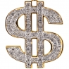 Mens Diamond Dollar Sign Money Pendant 10K Yellow Gold 0.65ct