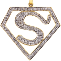 Mens Diamond Superman Shield Pendant 10K Yellow Gold 0.85ct