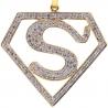 Mens Diamond Superman Shield Pendant 10K Yellow Gold 0.85ct