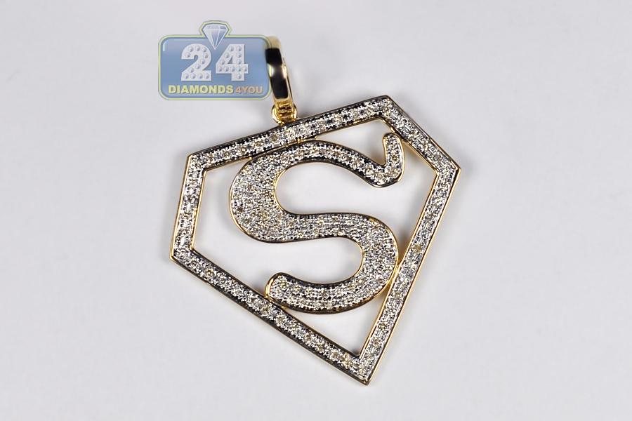 Mens Diamond Superman Shield Pendant 10k Yellow Gold 085ct