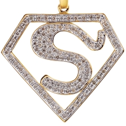 Mens Diamond Superman Logo Pendant 10K Yellow Gold 0.75 ct