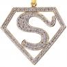 Mens Diamond Superman Logo Pendant 10K Yellow Gold 0.75 ct