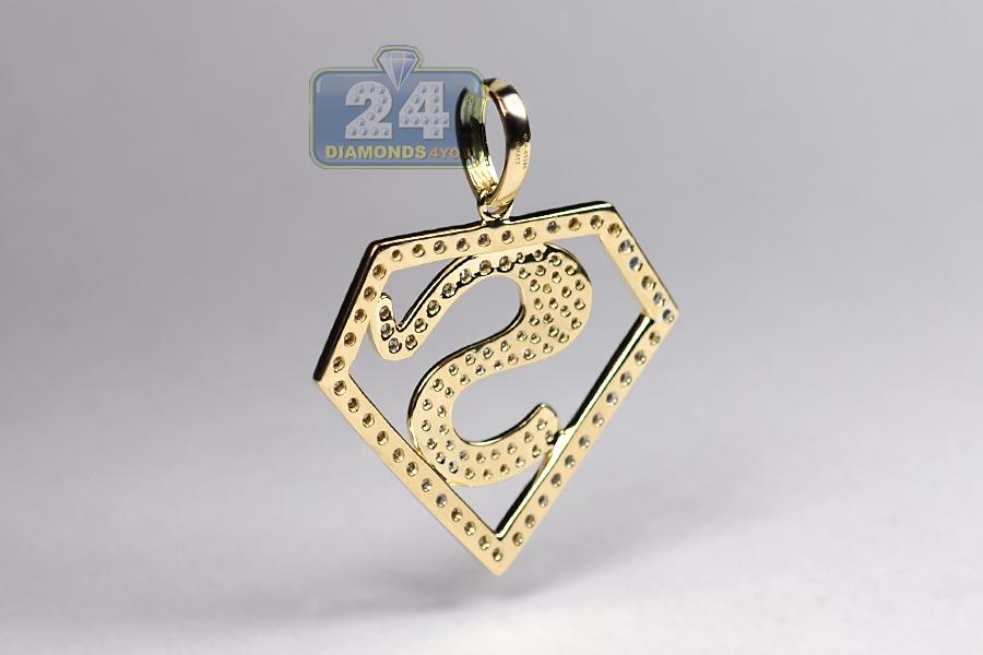 Mens Diamond Superman Logo Pendant 10k Yellow Gold 0 75 Ct