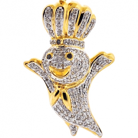 Mens Diamond Pillsbury Doughboy Pendant 10K Yellow Gold 0.65ct