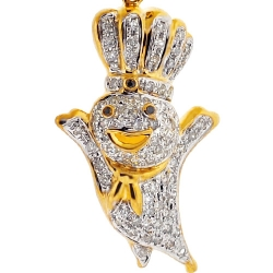 Mens Diamond Poppin Fresh Charm Pendant 10K Yellow Gold 0.44ct