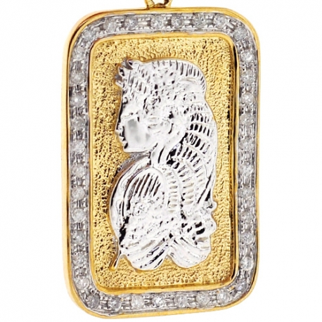 Mens Diamond Lady Fortuna Bar Pendant 10K Yellow Gold 0.60ct
