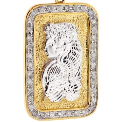 10K Yellow Gold 0.60 ct Diamond Lady Fortuna Bar Pendant