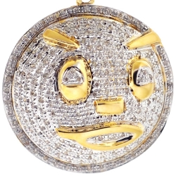 10K Yellow Gold 0.76 ct Diamond Glo Gang Face Pendant