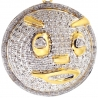 Mens Diamond Glo Gang Face Round Pendant 10K Yellow Gold 0.76ct
