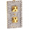 Mens Diamond Plug Socket Pendant Solid 10K Yellow Gold 0.74ct