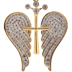 Mens Diamond Angel Wings Cross Pendant 10K Yellow Gold 0.80ct