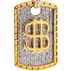 Mens Diamond Dollar Sign Medallion Bar Pendant 10K Yellow Gold