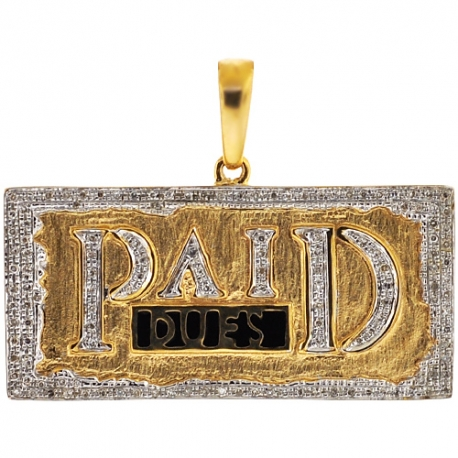 Mens Diamond Paid Dues Bar Tag Pendant 10K Yellow Gold 0.36ct