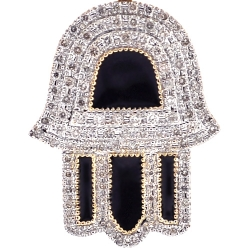 10K Yellow Gold Black Enamel Diamond Hamsa Hand Pendant