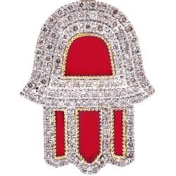 10K Yellow Gold Red Enamel Diamond Hamsa Hand Pendant