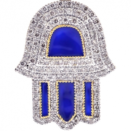 10K Yellow Gold Blue Enamel Diamond Hamsa Hand Pendant
