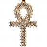 Mens  3 Rows Diamond Egyptian Ankh Cross 10K Yellow Gold 1.20ct