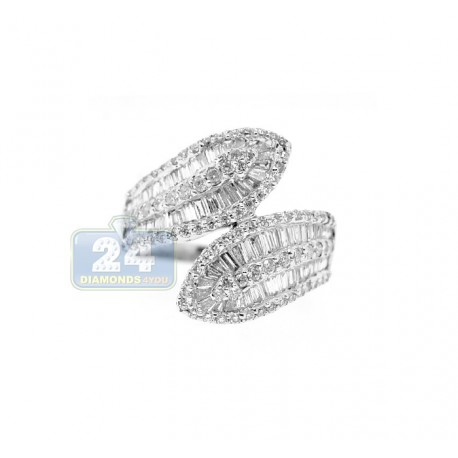 14K White Gold 1.44 ct Baguette Diamond Womens Bypass Ring