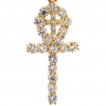 Mens Diamond Ankh Double Cross Pendant 14K Yellow Gold 1.64ct