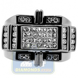 Black PVD 14K Gold 1.41 ct Princess Round Diamond Mens Ring