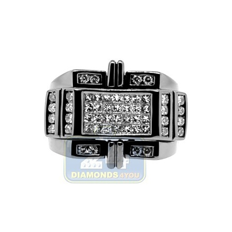 Black PVD 14K Gold 1.41 ct Princess Round Diamond Mens Ring